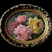 Antique Roses Print Paul de Longpre Sweet Tokens Bumblebee Vintage Gesso Frame Rose Flower ...