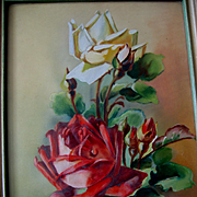 Vintage Roses Oil Painting Catherine Klein Rose Study Dewdrops Signed
