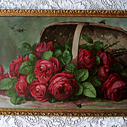 c1899 Paul de Longpre Cabbage Roses Print Basket of Beauties Bees Chromolithograph Antique Vic