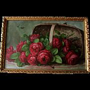 Antique Paul de Longpre Cabbage Roses Print A Basket of Beauties Bees Chromolithograph ...