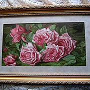 c1894 Cabbage Roses Print Annie Burt Chromolithograph Half Yard Long Rose Flower Gold Frame