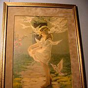 The Winged Aureole Besse Pease Gutmann Print Child Lady Bird Dove