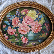 Cabbage Roses Print Whitroy Oval Barbola Frame Large