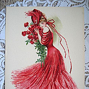 c1907 Lady Print Maud Stumm Antique Victorian Chromolithograph Roses Flower Rose