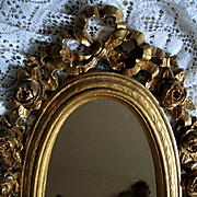 Barbola Roses Mirror Gold French Ribbon Syroco