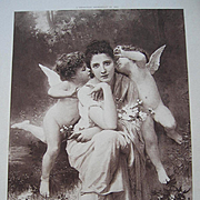 c1889 French Cupid Lady Engraving Print Song of Springtime Bouguereau Paris Exposition Univers