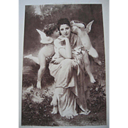 Antique French Cupid Lady Engraving Print Song of Springtime Bouguereau Paris Exposition ...