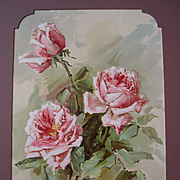 c1897 Pink La France Roses Print Teana Mc Lennan Hinman Listed Chromolithograph Antique Victor