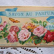 c1890 French Perfume Paper Label ROSES Butterfly Paris Parfum Mint