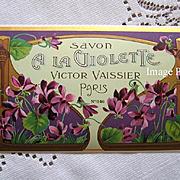 c1890s French Perfume Soap Label Violets Paris Advertising Print Gilt