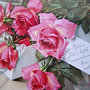 Mothers Day Pink Roses Print Vintage Rose Flower Floral