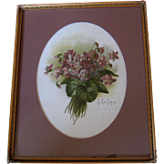 Paul de Longpre Double Violets Nosegay Print Original Glass Frame Chromolithograph Antique