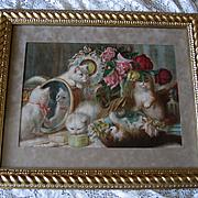 SALE PENDING c1907 Antique Kitten Print Roses Vanity Mirror Clock Cat Kittens Chromolithograph