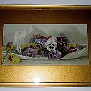 c1895 Pansies Print Paul de Longpre Spring Favorites Original Frame Mat Chromolithograph