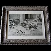 c1892 Five O Clock Tea Print Dog Cat Chicken Duck W H Trood Breakfast Time