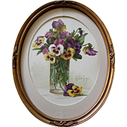 c1905 Paul de Longpre Pansies in a Glass Vase Print Chromolithograph