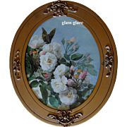 Bride Roses and Butterfly Print by Paul de Longpre in Antique Frame