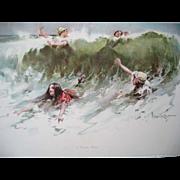 Antique Print A Popular Wave Granville Smith Lady Bathing Sea Ocean