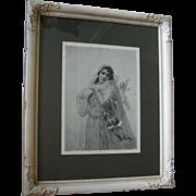 Antique Bride Print The Fiance Edouard Bisson Wedding Cupid