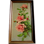 Catherine Klein Pink Cabbage Roses Yard Long Print Antique Chromolithograph