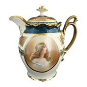 Antique portrait syrup pitcher MZ Austria Wheelock fine porcelain