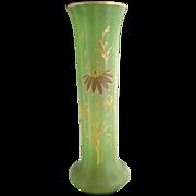 French Mont Joye uranium glass vase Art Nouveau gold