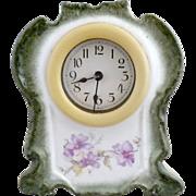 Antique German porcelain clock celluloid frame Wurttemberg Germany