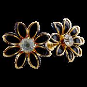 Vintage earrings black daises Bugbee Niles c. 1940s