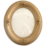 SOLD Vintage gesso oval picture frame raised fruit decoration 8x10 picture