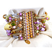 Artisan beaded bracelet magnet clasp pink rhinestones Tiara Misu