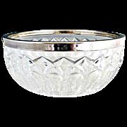 Vintage German crystal bowl silver rim