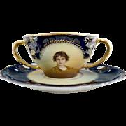 Antique cup saucer portrait cream soup Rosenthal