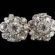 Vintage Weiss earrings smoky black diamond rhinestones round pear emerald cut
