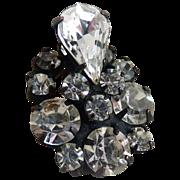 Vintage Regency brooch black enamel crystal rhinestones teardrop