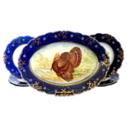 Antique La Belle turkey platter plates flow blue Wheeling Pottery c.1893 Thanksgiving Christma