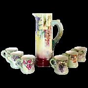 Antique porcelain wine tankard set hand painted Imperial Austria