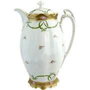 Victorian chocolate pot gold encrusted trim MZ Austria