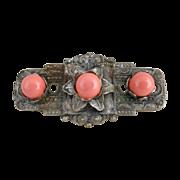 Antique Carnelian cabochon brooch Art Nouveau c. 1900