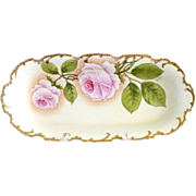 Antique Royal Munich porcelain tray American Beauty roses