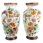 Antique Bristol Glass mantel vases hand painted England
