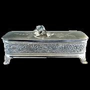 Wm Tufts silver plate glove box satin lining c. 1880s
