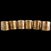Antique cigar holders cigar rings brass engraved set of 6