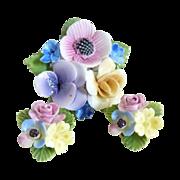Vintage floral porcelain pin earring set Thorley 1940s England