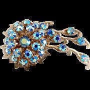 Vintage brooch blue rhinestone Comet design