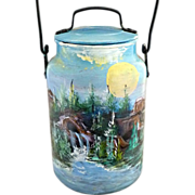 Vintage folk art milk pail Leyse hand painted Southwest scene