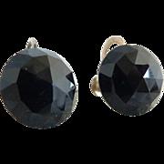 Vintage faceted jet bead earrings screwback