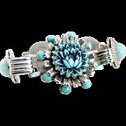 Vintage bracelet cabbage flower faux turquoise