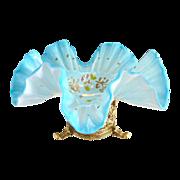 Antique cased blue glass brides bowl gilt brass stand