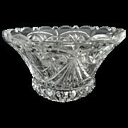Antique glass serving bowl pattern hobstar fan