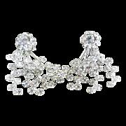 Vintage clip earrings crystal rhinestones floral branches formalwear